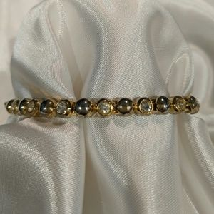 Tennis bracelet gold-tone with crystal rhinestones
